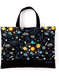 レッスンバッグ(キルティング) 絵本袋 手さげ おけいこバッグ 太陽系惑星とコスモプラネタリウム(ブラック) N0239900