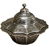 Ottoman Style Engraved Copper Sugar Turkish Delight Candy Bowl (Antique Silver)