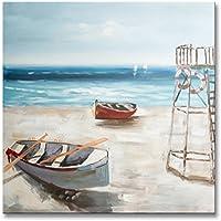 Chadow – 風景のボートビーチシースケープ100 %手描き油彩画with Stretchedフレーム壁アート24 x 24インチ