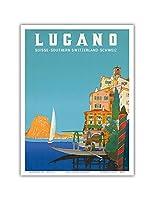 ルガーノ - 南スイス - ルガーノ湖 - ビンテージな世界旅行のポスター によって作成された レオポルド・メトリコヴィッツ c.1958 - アートポスター - 23cm x 31cm