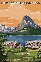 Many Glacierホテル–グレイシャー国立公園、モンタナ 9 x 12 Art Print LANT-33457-9x12