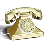 アンティーク電話/ローテート有線電話/ホームオフィスデスクトップ有線/機械式着メロL22CM * W18CM * H20CM ( 色 : ゴールド )