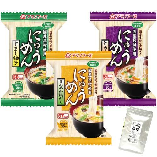 アマノフーズ フリーズドライ にゅうめん 3種類 12食 小袋ねぎ1袋 セット