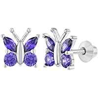 925 Sterling Silver Purple CZ Butterfly Screw Back Earrings for Girls Teens