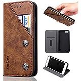iPhone7 Plus ケース iPhone8 Plus ケース手帳型easyBee アイフォン7プラス 財布型 レザーケース スタンド機能 カード入れカバー マグネット おしゃれ プレゼントに最適 全面保護 スマホケース (ダークブラウン)
