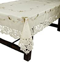 夏 ホームファッション 刺繍 カットワーク テーブル クロス 、 72 インチ 108 インチ の ボルドー