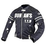 DUHAN バイク ジャケット メンズ 長袖 ライダースジャケット バイクウェア 通気 耐摩 プロテクタ ー付き 黒 ブラック ダークグレー ナイロンジャケットト XL