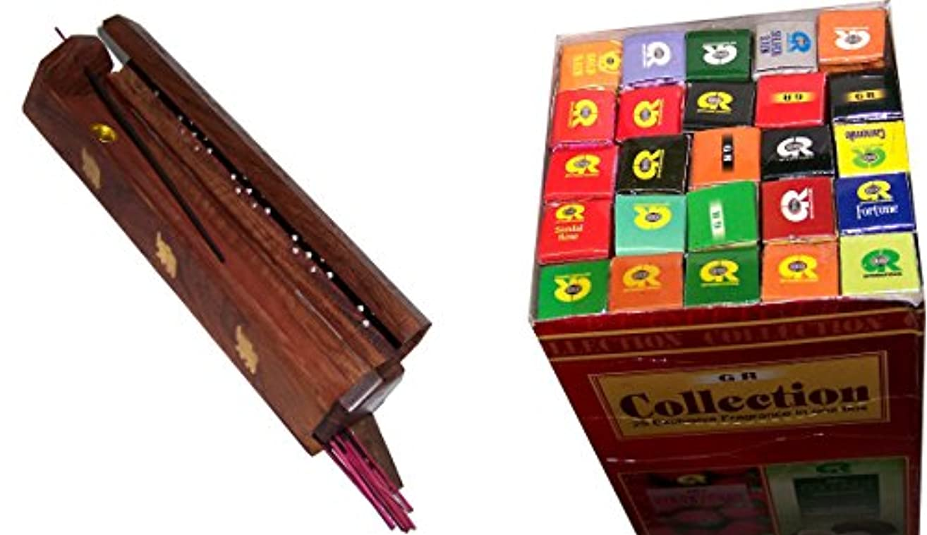 敬な割れ目インディカ木製Incense Burner with 25 Fragrances x 8 sticks set – by Holy Land市場
