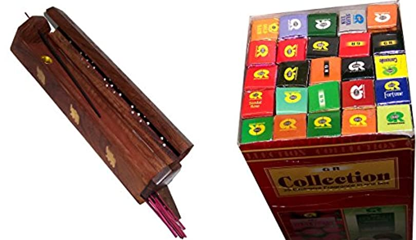 ドット鼻隣接する木製Incense Burner with 25 Fragrances x 8 sticks set – by Holy Land市場