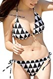 (Willing) 水着 レディース ボーダー ビキニ セクシー 体型カバー 海水浴 バスト モノトーン 大きい サイズ バンドゥ 三角柄 ホワイト ブラック S M L (08:タイプC 三角柄 M)