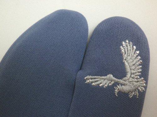 粋な男物男性刺繍入りストレッチ足袋グレー銀鷹ブルーグレー