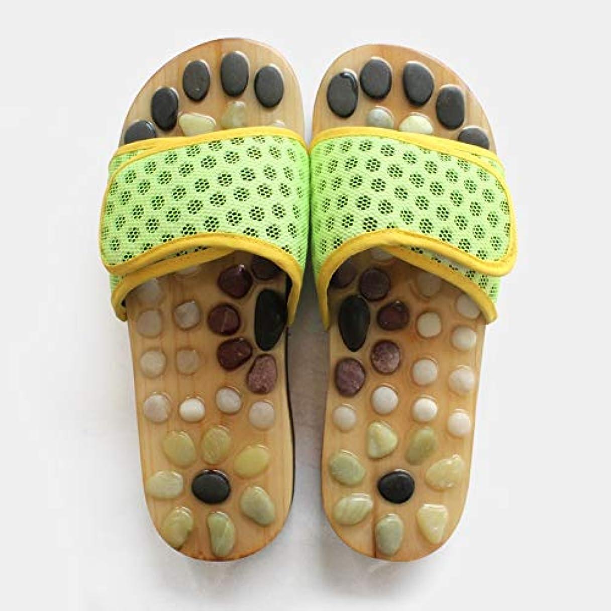 データクリスチャンストロークCornelius 天然玉石のマッサージの靴屋内健康の夏の家の鍼治療の靴の緑 (Color : Green, Size : 42)