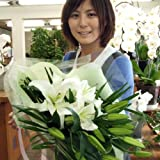 花工房花贈りエーデルワイス フラワーギフト 白の大輪百合(ユリ)の花束20リン以上父の日ギフト2010
