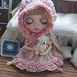 フレッドペリー Tシャツ (ドーリア)Dollia ブライス 1/6ドール用 アウトフィット メルヘン ふわふわ 甘ロリ ドレスセット 2点セット ドレス 帽子 ネオブライス ドール 人形 (ピンク)