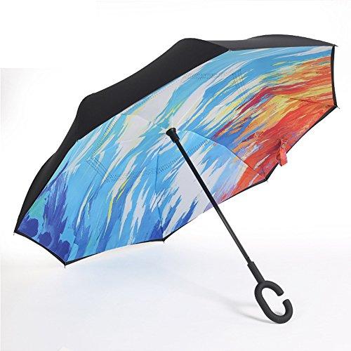 Farway 逆さ傘 長傘 逆折り式傘 耐風 撥水 UVカット 晴雨兼用 梅雨対策 車用 ビジネス用 C型持ち手 多様柄 (油絵) [並行輸入品]