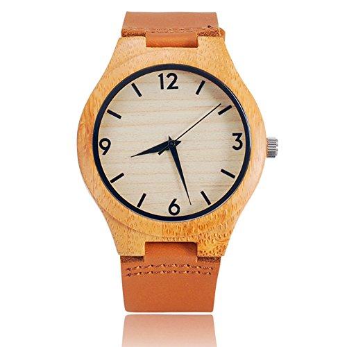 竹製木製腕時計、Farslerアナログクォーツ腕時計軽量カジュアルスポーツ腕時計、ブラウン牛革レザーストラップ (ホワイトダイヤル)