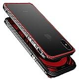TOP FILM iphoneX アルミバンパー ケース 表面強化ガラス 背面透明プレート付き (ブラックxレッド)
