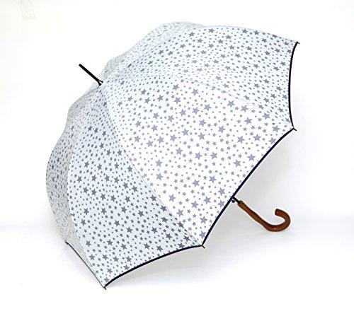 超撥水 雨傘 スター柄 星柄 長傘 アンブレラ 手が濡れない (ホワイト)