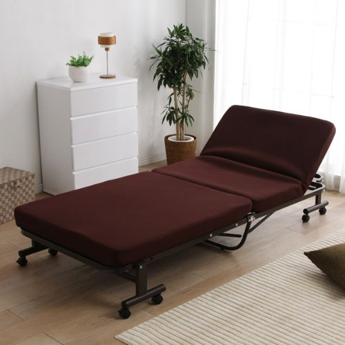 アイリスオーヤマ 折りたたみベッド 低反発 14段階リクライニング 完成品 ブラウン OTB-TRN