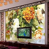 Weaeo エンボス加工された花の3D彫刻豊かな3次元壁画の壁の壁のカスタム大きなフレスコ画の壁紙-450X300Cm