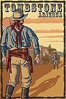 Tombstone、アリゾナ州–カウボーイスタンドオフ 12 x 18 Art Print LANT-67552-12x18
