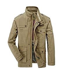 maweisong メンズカジュアル屋外ライトカーゴスタンドカラーミリタリージャケットコート