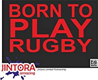 JINTORA ステッカー/カーステッカー - born to play rugby - ラグビーをするために生まれた - 170x99 mm - JDM/Die cut - 車/ウィンドウ/ラップトップ/ウィンドウ - 赤