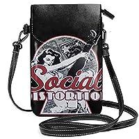 Social Distortion ミニバッグ レディース ショルダーバッグ 携帯ポーチ 軽量 便利 ショルダーバッグ 携帯電話の財布