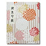 御朱印帳 60ページ ブック式 ビニールカバー付 縞菊 白茶