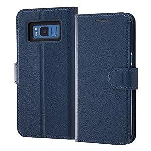 レイ・アウト Galaxy S8 ケース 手帳型 シンプル マグネット/ダークネイビー RT-GS8ELC1/DN