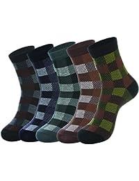 EOZY メンズソックス 靴下 アーガイル柄 ミドル丈 男 紳士ストレッチソックス 暖かい ビジネスソックス カジュアル フォーマル 5足セット