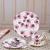 セラミック西洋食器セットカップソーサープレートフォークスプーンアートテーブルセットギフトセット (色 : Red butterfly orchid)