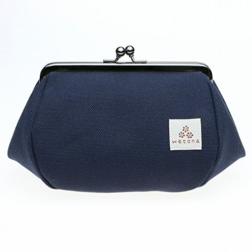 watona 帆布がま口 化粧ポーチ 4.5寸Lサイズ (ミッドナイトブルー)