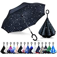 ZOMAKE Double Layer Inverted Umbrella Cars Reverse Folding Umbrella, UV Protection Windproof Large Straight Umbrella with C-Shaped Handle …