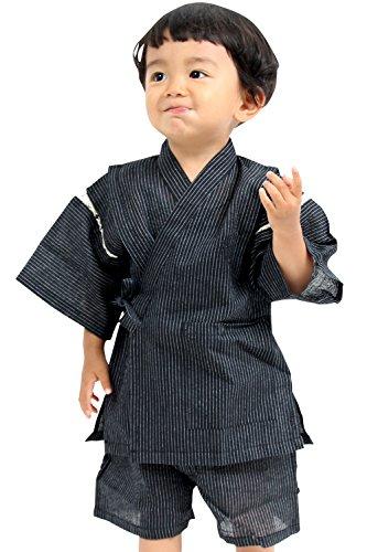 甚平 しじら織り 麻混 巾着付き 男の子 キッズ 子供服 [ブラック/130サイズ]