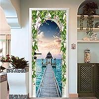 Xbwy 3D壁紙ローマの列美しい海の景色写真壁ドアステッカー壁画リビングルームレストランのスペース拡張Pvcウォールペーパー-350X250Cm