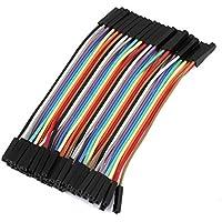 uxcell ジャンプワイヤ コネクタライン ジャンパ線ケーブル 40ピン メス-メス プラスチック 10cm 2.54mm