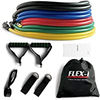 FLEX-i® Resistance Bands Set – Stackable Resistance Tubes – Exercise Resistance Bands with Handles, Ankle Straps, Door...