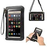 6.3インチ スマートフォン 対応 財布型 携帯電話ポーチiPhone7/iPhone7plus iPhone6S plus/iPhone6 plus/galaxy s6 edge/galaxy s7 edge/Xperia Z3 Z4 Z5/Huawei P9 PLUS/P8/P9 / mate7/mate8 対応 高品質なレザー 合成PU バッグ 2way iphoneケース窓付き 入れたまま触れる 長財布 l字ファスナー レディース ストラップ付き カード収納 超薄型スマートフォンポーチ 純色 防塵/耐汚れ (6.3インチ以下 スマートフォン 対応, ブラック)
