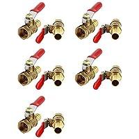 uxcell レバーハンドルボールバルブ フルポート 排気管アダプター 黄銅製 ゴールドトーン 6個入り