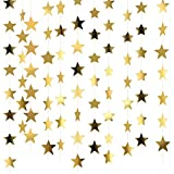 Patelai 10 Packs 40m Golden Glitter Star Paper Garland Hanging Decoration for Wedding Birthday Christmas Festival Party, Each Paper Star Garland of 4m