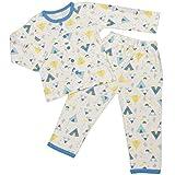 テント キャンプ柄 ロールアップ袖 長袖 パジャマ上下セット ボーイズベキッズパジャマ[enfant pur]男の子 男児 子供用 120cm ブルー