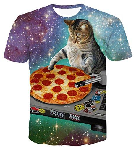 [pizoff by zero] メンズ Tシャツ 半袖 細身 猫柄 3dプリント 可愛い ふさげtシャツ 男女兼用 夏AL067-28-M
