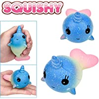 Mochi Squishy Decompressionおもちゃ、Feitong精巧なFunソフトWhale Cartoon SquishyチャームSlow Rising Squeeze Toy M マルチカラー FEITONG10498