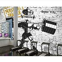 Ljjlm カスタムジム装飾的な3D壁紙ノスタルジックレトロスポーツフィットネス重量挙げの背景壁の壁紙3D-120X100CM