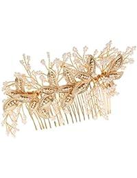 Blesiya ビーズ 人工真珠 花飾り 美しい ゴールド レーフ ヘアコーム ヘアピン レディース へァッション ヘッドドレス