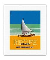 レシフェ - ブラジル - エールフランス - ビンテージな航空会社のポスター によって作成された C. ブランズウィック c.1978 - キャンバスアート - 28cm x 36cm キャンバスアート(ロール)