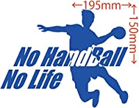 カッティングステッカー No Handball No Life (ハンドボール)・4 約150mm×約195mm ブルー 青