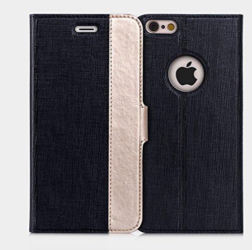 iPhone6s ケース iPhone6ケース ,Fyy ハンドメイド 良質PUレザーケース 手帳型 保護カバー カード収納ホルダー付き スタンド機能付 マグネット式 スマートフォンケース ブラックxゴールド