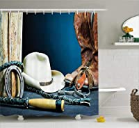 (180cm W By 190cm L, Multi 6) - Western Decor Shower Curtain by Ambesonne, Equestrian Backdrop with Antique Horseshoe Hat Cowboy Texas Style, Fabric Bathroom Decor Set with Hooks, 190cm Long, Blue Brown and Beige